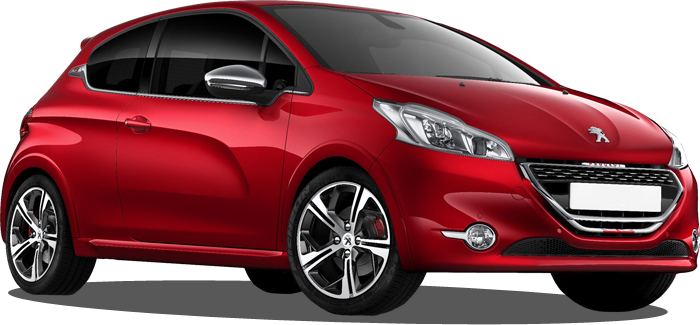 Red Peugeot 208 used for lessons